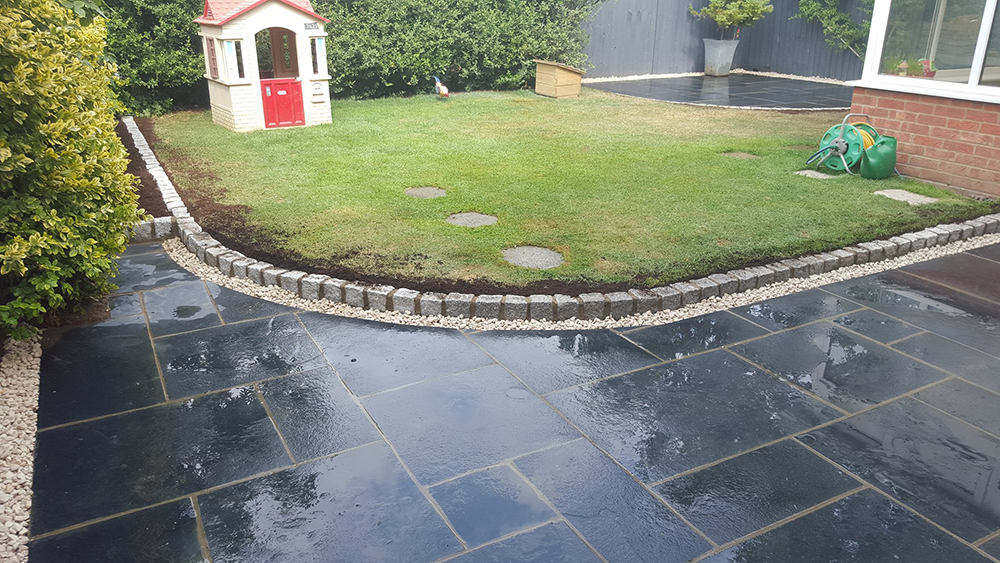 Two new curved patio areas at a job in Bicester